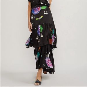 Dark Floral Charmeuse Tiered Maxi Skirt